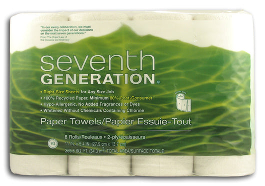 Paper Towels, White, 2-ply (8 roll/p