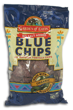 Blue Corn Tortilla Chips, No Salt