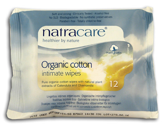 Feminine Wipes, Organic Cotton, 12 c