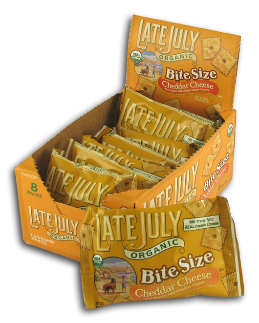 Bite Size Cheddar Crackers, Org (8)
