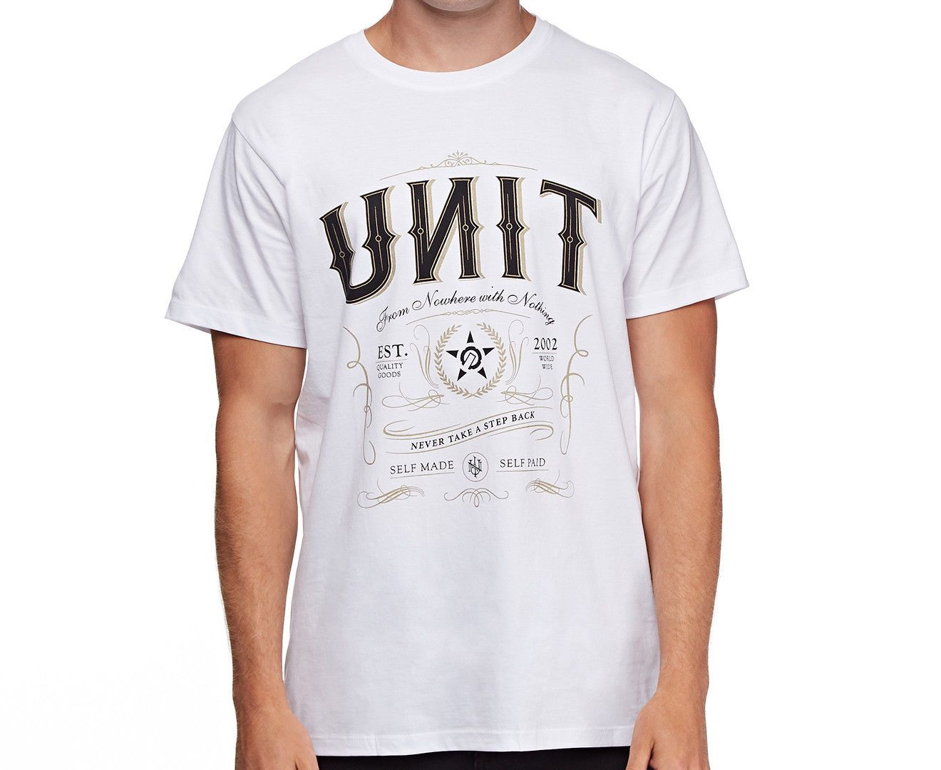 UNIT CASUAL MENS TOP TEE OUTLAW WHITE