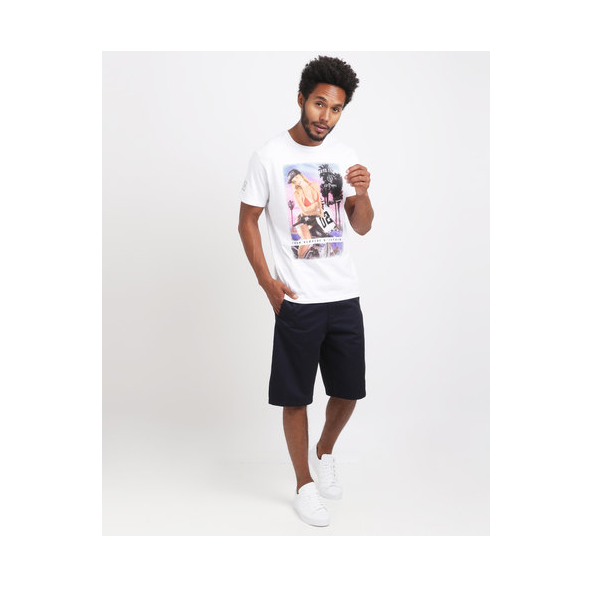 UNIT CASUAL MENS TOP TEE AMONGST WHITE