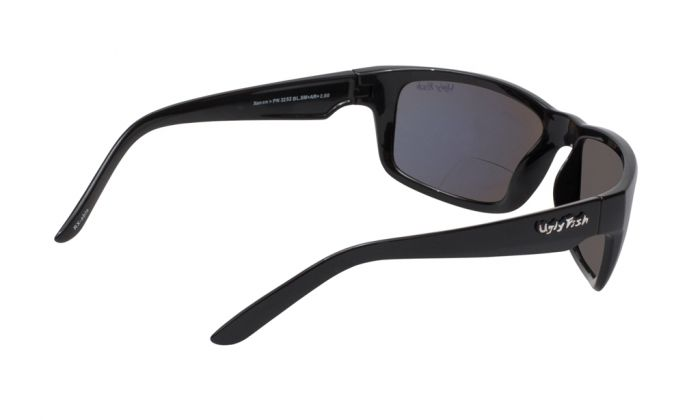 UGLY FISH XENON BIFOCAL PN3252 SHINY BLACK FRAME SMOKE LENS +2.5