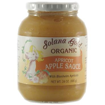 Solana Gold Organics Apricot Apple Sauce in Glass Organic - 12 x 24 ozs.