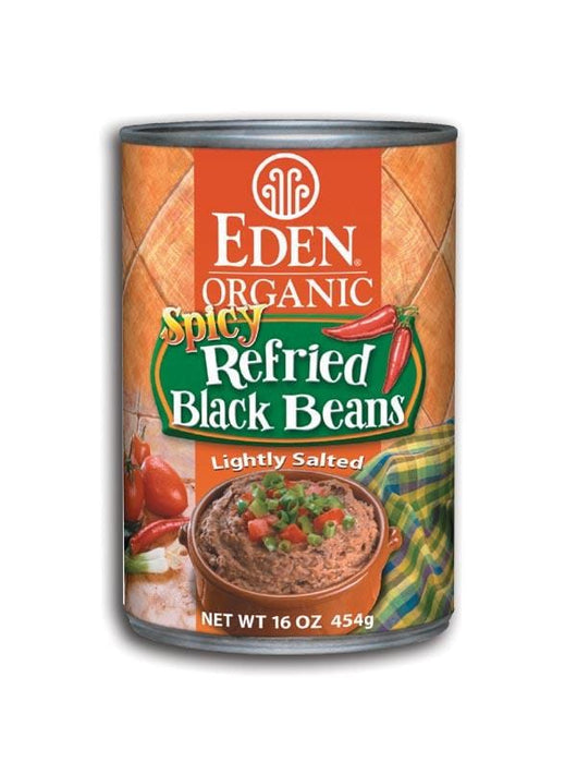 Eden Foods Spicy Refried Black Beans Organic - 12 x 16 ozs.