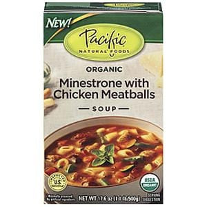 Pacific Foods Minestrone with Chicken Meatballs Soup, Organic - 17.6 ozs.