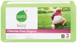 Seventh Generation Baby Diapers Stage 3 (16-28 lbs) - 4 x 31 ct.