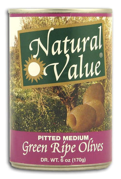 Natural Value Green Olives Pitted Natural - 6 ozs.