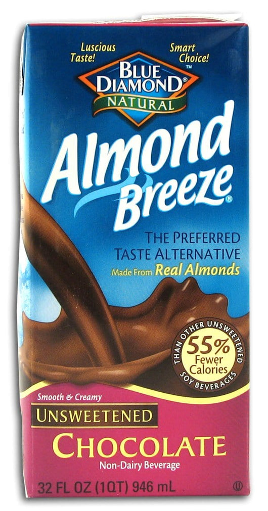 Blue Diamond Almond Breeze Unsweetened Chocolate - 12 x 32 ozs.