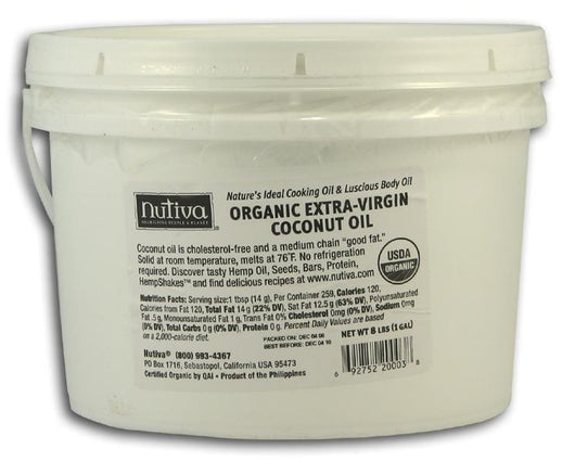 Nutiva Organic Unrefined Extra Virgin Coconut Oil  - 4 x 1 gallon