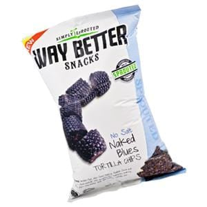 Way Better Snacks Tortilla Chips, Sprouted, Naked No Salt Blues - 12 x 5.5 oz