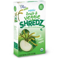 Plum Organics Fruits & Veggie Shredz, Super Apples Fruit Shreds, Organic - 8 x 3.5 oz