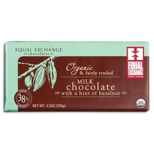 Equal Exchange Milk Chocolate Bar, with a Hint of Hazelnut, Organic - 3.5 ozs.