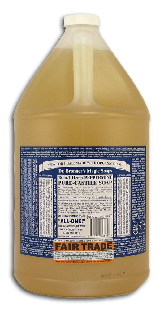 Dr Bronner Peppermint Castile Liquid Soap - 1 gallon