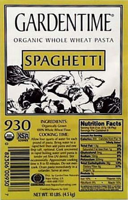 Gardentime Spaghetti Whole Wheat Organic - 10 lbs.