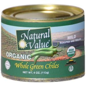 Natural Value Green Chiles, Whole, Organic - 24 x 4 ozs.