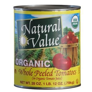 Natural Value Tomatoes, Whole Peeled, Organic - 12 x 28 ozs.