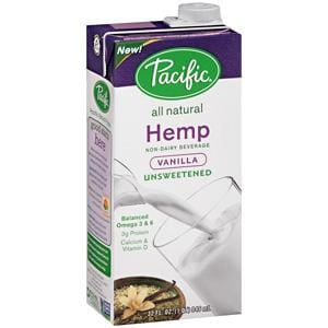 Pacific Foods Hemp Milk, Unsweetened, Vanilla, All Natural - 12 x 32 oz