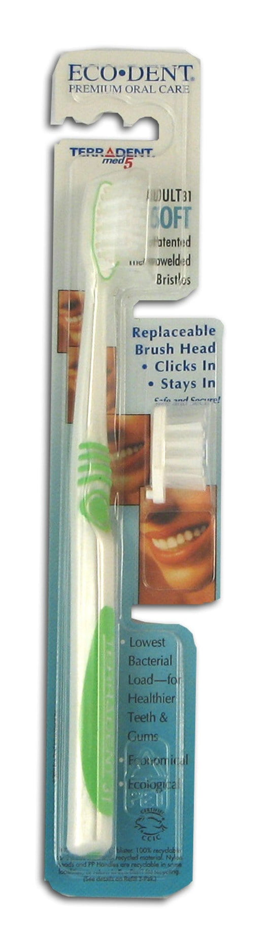 Eco-Dent Replaceable Head Toothbrush SOFT - 6 x 1 brush