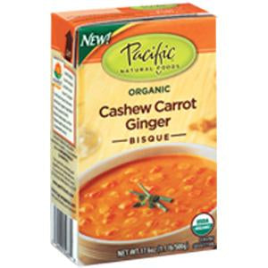 Pacific Foods Cashew Carrot Ginger Bisque Soup, Organic - 12 x 17.6 ozs.