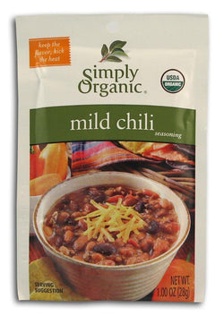 Simply Organic Mild Chili Seasoning Organic - 3 x 1 oz.