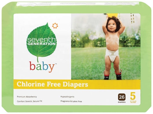 Seventh Generation Baby Diapers Stage 5 (27+ lbs) - 4 x 23 ct.