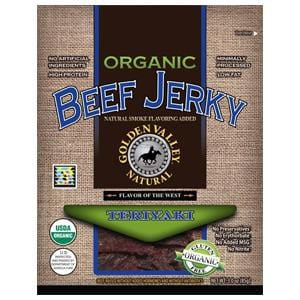 Golden Valley Natural Beef Jerky Teriyaki, Organic - 3 ozs.