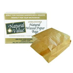 Natural Value Waxed Paper Bags Unbleached - 12 x 60 ct.