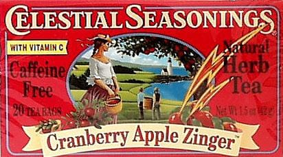 Celestial Seasonings Cranberry Apple Zinger Tea - 6 x 1 box