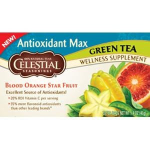 Celestial Seasonings Antioxidant Max Blood Orange Star Fruit Green Tea - 6 x 1 box