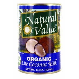 Natural Value Coconut Milk, Lite, Organic - 12 x 13.5 ozs.