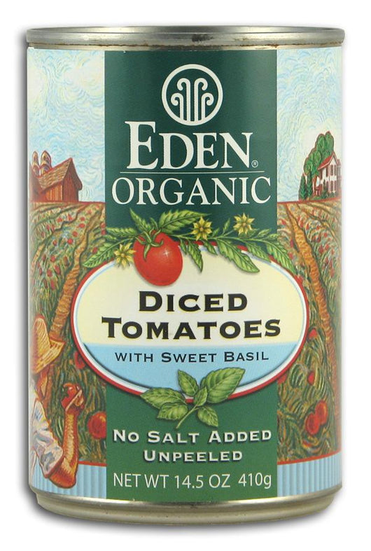 Eden Foods Diced Tomatoes with Sweet Basil Organic - 12 x 14.5 ozs.