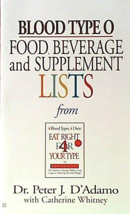 Books Blood Type O Food Bev/Supplement Li - 1 book