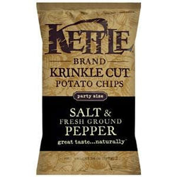 Kettle Foods Potato Chips, Salt & Fresh Ground Pepper, Krinkle Cut - 14 ozs.