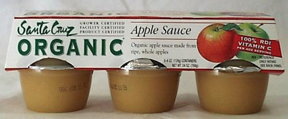 Santa Cruz Apple Sauce Cups Organic - 6 x 4 ozs.