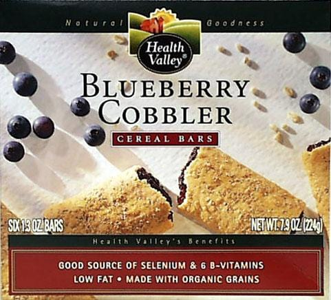 Health Valley Blueberry Cobbler Cereal Bars - 6 x 7.9 ozs.
