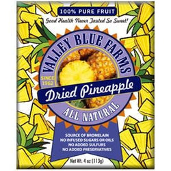 Valley Blue Farms Pineapple, Dried, All Natural - 4 ozs.