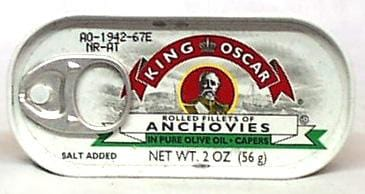 King Oscar Anchovies in Olive Oil Flat Fillet - 2 ozs.