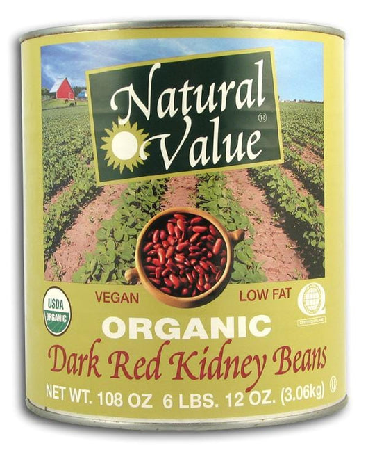 Natural Value Dark Red Kidney Beans (BIG Can) Organic - 6 x 108 ozs.