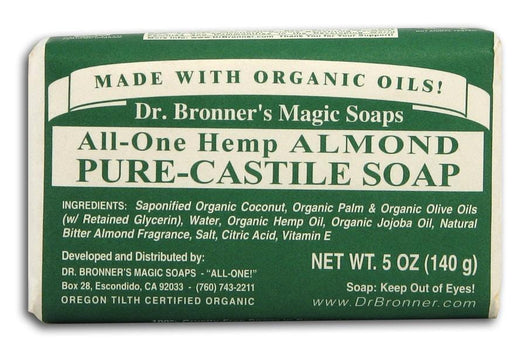 Dr Bronner Hemp Almond Pure Castile Soap Organic - 5 oz. bar