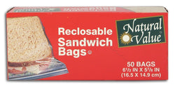 Natural Value Sandwich Bags Reclosable - 50 ct.
