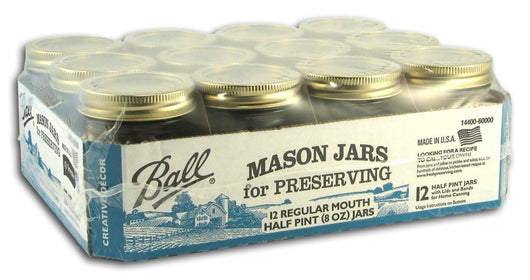 Ball Canning Jars 1/2 Pint Size Regular - Case/12
