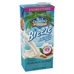 Blue Diamond Almond Coconut Breeze, Unsweetened Vanilla - 12 x 32 ozs.