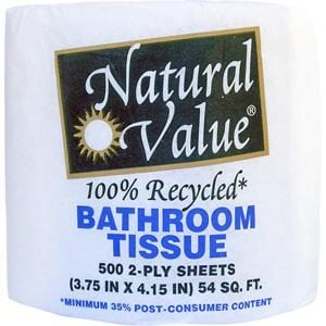 Royal Paper/Natural Value Bath Tissue 500 2ply sheets-Recycled - 3 x rolls