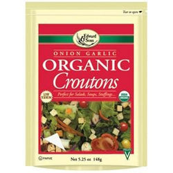 Edward & Sons Croutons Onion Garlic Organic - 3 x 5.25 ozs.
