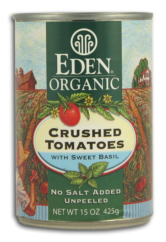 Eden Foods Crushed Tomatoes with Sweet Basil Organic in Amber Glass - 12 x 14 ozs.