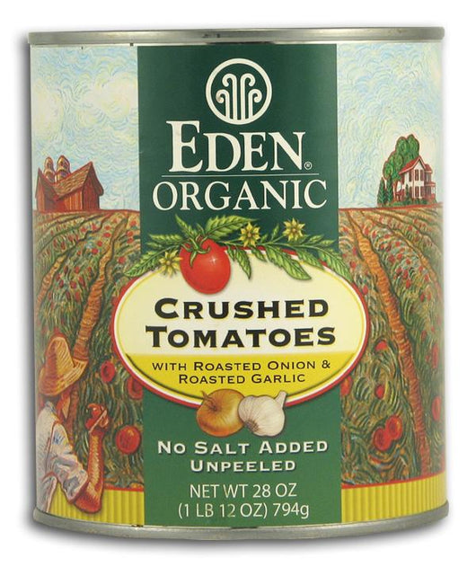 Eden Foods Crushed Tomatoes with Roasted Onion Garlic Organic in Amber Glass - 25 ozs.