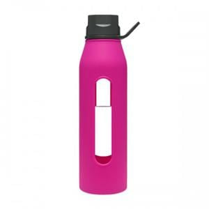 Takeya Glass Water Bottle, Fuchsia - 22 ozs.