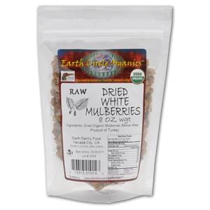 Earth Circle Organics Mulberries, White, Dried, Organic - 8 ozs.