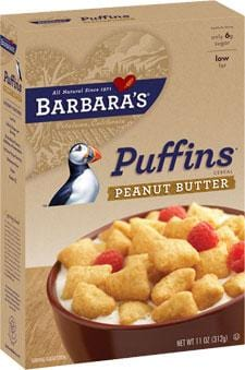 Barbara's Bakery Puffins Peanut Butter Wheat Free - 3 x 11 ozs.